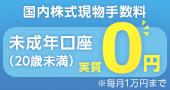 怒涛の手数料0円!未成年の方、国内株(現物)手数料が毎月1万円(上限)まで実質無料