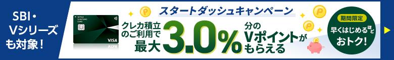 SBI・Vシリーズも対象!スタートダッシュキャンペーン クレカ積立のご利用で最大3.0%分のVポイントがもらえる 期間限定 早く始めるほどおトク!