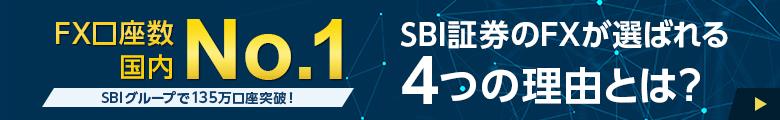 FX口座数国内No.1※1【SBIグループで135万口座突破!※2】SBI証券のFXが選ばれる4つの理由とは?※1 2019年11月末時点 矢野経済研究所調べ(有力FX企業17社の月間データランキング)※2 2020年5月末時点 SBIグループのうち、約7割がSBI証券のFX口座