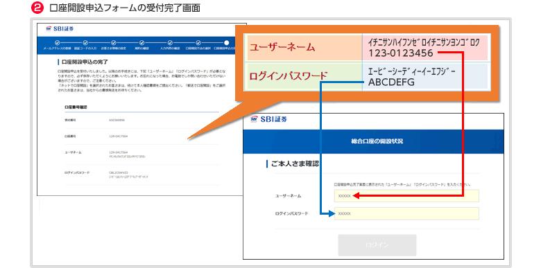②口座開設申込フォームの受付完了画面