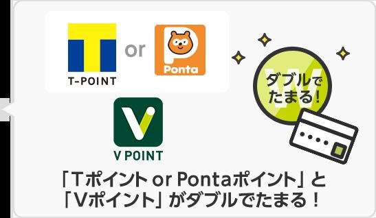 「Tポイント or Pontaポイント」と「Vポイント」がダブルでたまる!