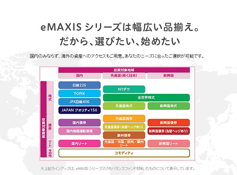 eMAXISシリーズは幅広い品揃え。だから、選びたい、始めたい