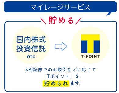 マイレージサービス SBI証券でのお取引などに応じて「Tポイント」を貯められるようになります。