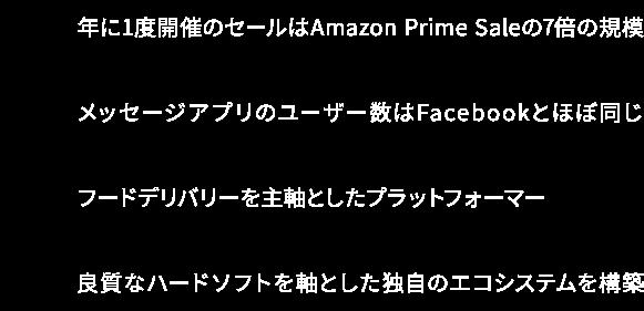 A:年に1度開催のセールは Amazon Prime Saleの7倍の規模 T:メッセージアプリのユーザー数は Facebookとほぼ同じ M:フードデリバリーを主軸とした プラットフォーマー X:良質なハードソフトを中心に 独自のエコシステムを構築